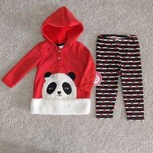 NWT Nannette girls red heart panda outfit 24M